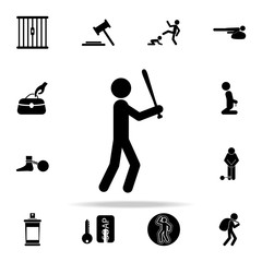 robber with a bat in his hands icon. Crime icons universal set for web and mobile