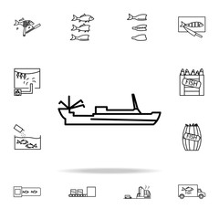 fishing boat icon. fish production icons universal set for web and mobile