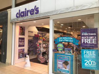 A Claire's store is pictured in the Newport Mall in Jersey City