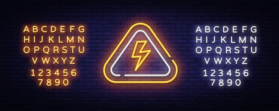 Lightning bolt neon sign vector design template. High-voltage neon symbol, light banner design element colorful modern design trend, bright sign. Vector. Editing text neon sign