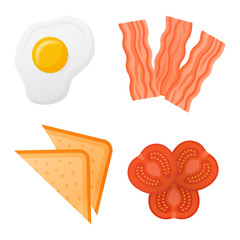 Set of breakfast ingredients isolated on white background. Toasted bread, tomato slices, bacon strips and fried egg. Top view. Vector illustration.