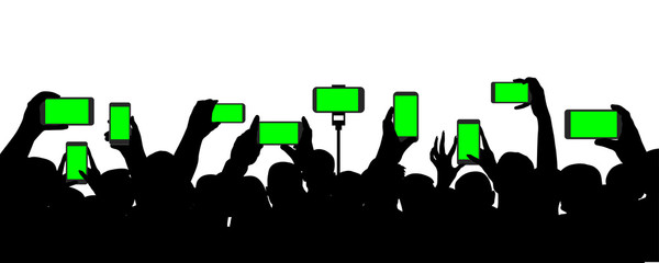 Crowd of people at a concert, records video on a smartphone, event. Cheerful audience. Hands holding a mobile phone. Silhouette vector on white background