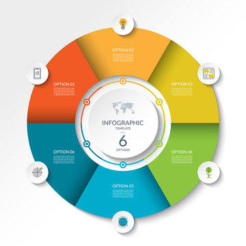 Circular infographic flow chart. Process diagram circle or pie graph with 6 options, parts, segments. Vector banner