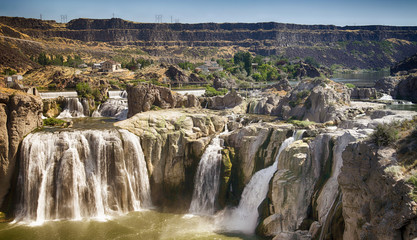 Shoshone Falls is one of the largest natural waterfalls in the United States and a natural attraction in Twin Falls .(Idaho)