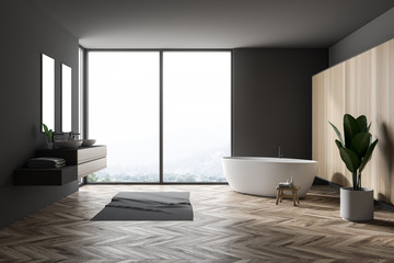 Gray large bathroom interior, tub and double sink