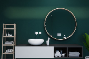 Emerald bathroom interior, sink and mirror