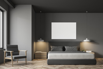 Grey Scandinavian style bedroom interior, poster