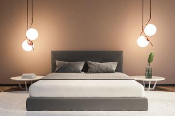 Beige minimalistic bedroom interior master bed