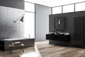 Concrete and gray bathroom interior
