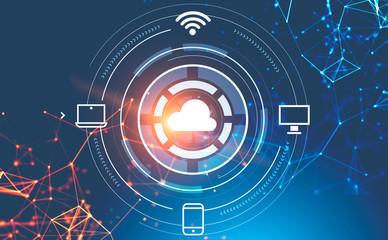 Fotobehang - Cloud computing interface icons, network interface