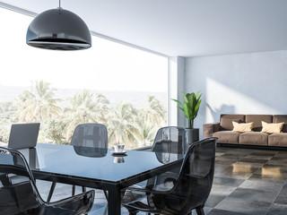 White panoramic dining room corner, sofa