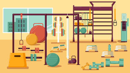 Gym Colorful Flat Illustration Vector Healthy Workout