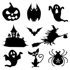 Haloween icons set in black