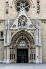 Entrance portal of the Zagreb Cathedral, consecrated in 1217, restored in the Neo-Gothic style after the 1880 Zagreb earthquake.