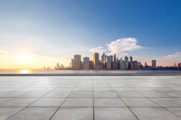 Fototapete - empty floor with modern cityscape in new york