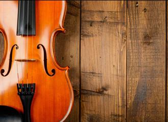violin in wood background