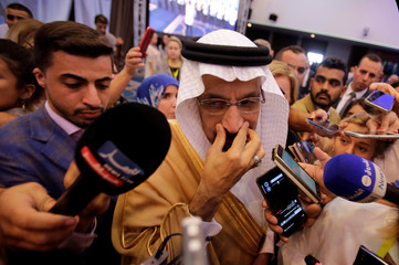 Saudi Arabian Energy Minister Khalid al-Falih talks to the media at the OPEC Ministerial Monitoring Committee in Algiers