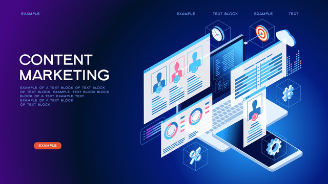 Technology concept content marketing strategy web banner.