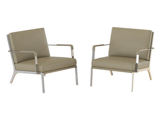 Two Beige office armchair and pouf 3d rendering