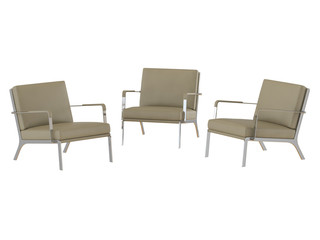 Three Beige office armchair 3d rendering