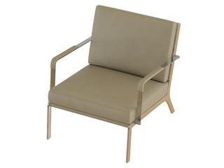 Beige office armchair 3d rendering
