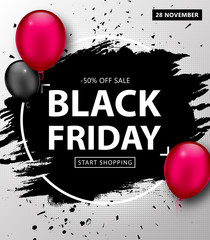 Black Friday Sale Poster. Seasonal discount banner with black, pink balloons and black grunge frame on gray background. Holiday design template for advertising shopping, closeout on thanksgiving day