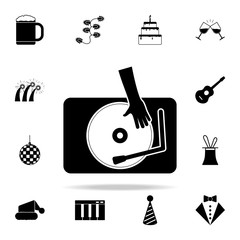 hand on a record icon. Party icons universal set for web and mobile