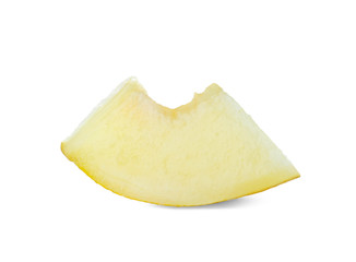 Piece of tasty ripe melon on white background