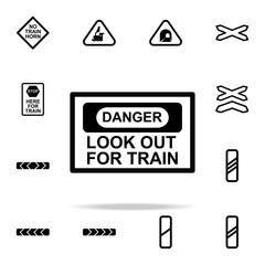 warning sign train icon. Railway Warnings icons universal set for web and mobile