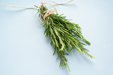 Organic natural fresh rosemary tied with a thread on a light blue background