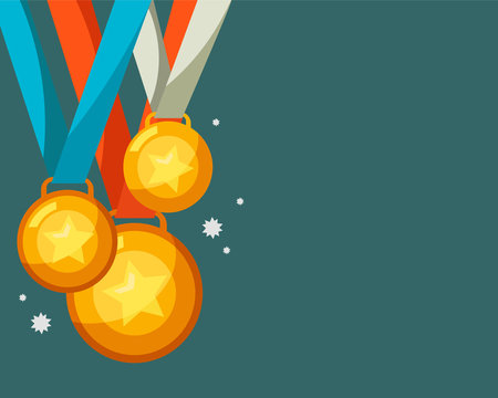 Gold medal with copy space background vector illustration