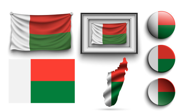 set of madagascar flags collection isolated