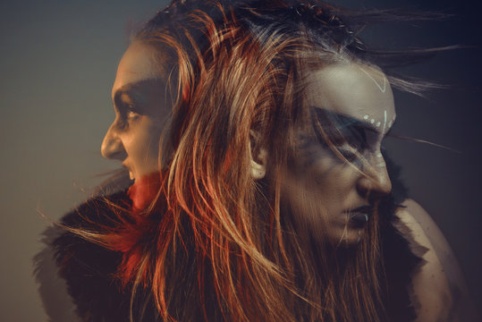 Dual nature, voices in head, one body two spirits, possessed tribal woman, shaman