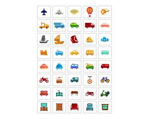 mixed variation transportation furniture image vector logo symbol icon set