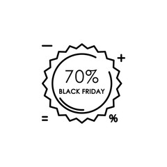 sticker tag 70% black Friday icon. Element of black friday icon for mobile concept and web apps. Thin line sticker tag 70% black Friday icon can be used for web and mobile