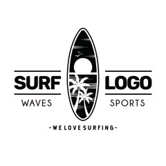 Surfing logo and emblems for Surf Club or shop Logo Design Inspiration Vector