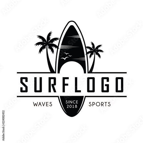 Surfing logo and emblems for Surf Club or shop Logo Design