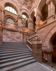 Great Western Staircase, or Million Dollar Staircase, inside the New York State Capitol building in Albany