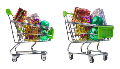 Isolated shopping cart with Christmas presents. Christmas and New Year composition. Side and angle view photo.