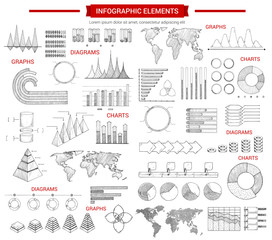 Infographic chart and graphs sketches