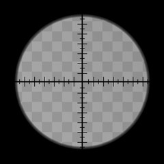 Realistic sniper scope crosshairs view. Sniper scope optical template isolated on transparent background.
