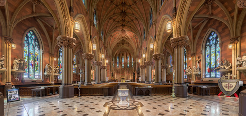 Panorama of the interior of the historic Cathedral of the Immaculate Conception in Albany, New York