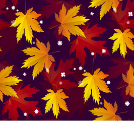 Autumn leaves, seamless pattern, vector background.
