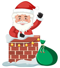 Santa delivery gift by chimney