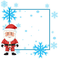 A santa frame with snowflake background