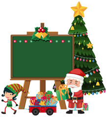 Santa claus with elf blackboard template