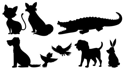 Silhouette of wild animals