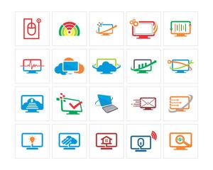 variation mixed technology image vector icon logo symbol set