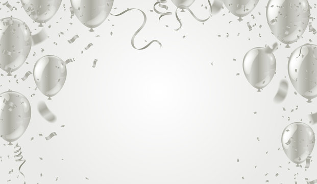 silver balloons illustration confetti and ribbons flag Celebration background template typography for greeting card, festive poster etc.
