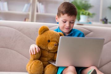 Little boy surfing internet on laptop